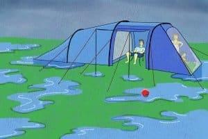 Prüfen Sie bei Ihrem 4-Personen-Zelt-Test, dass alles wasserdicht ist.