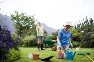 Ein flexibler Gartenschlau ist im Vergleich zu einem starren Modell gut für verwinkelte Gärten geeignet.