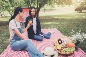 Picknickdecke: Ihr persönlicher Testsieger sollte aus reißfestem Material bestehen und wasserfest sein.