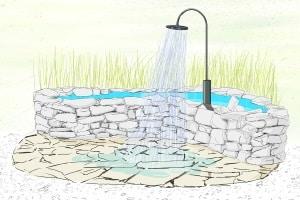 Solardusche: Im eigenen Test sollten Sie auch darauf achten, dass das Wasser ablaufen oder versickern kann.